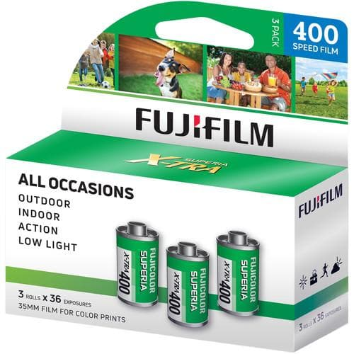 FUJIFILM Fujicolor Superia X-TRA 400 Color Negative Film (35mm Roll Film, 36 Exposures, 3-Pack)