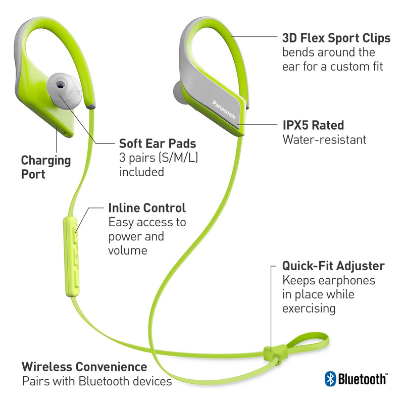 Panasonic WINGS Ultra-Light Wireless Bluetooth Sport Earphones - Yellow