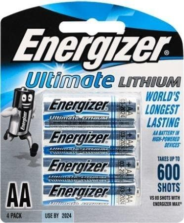 Energizer Ultimate Lithium AA Batteries 4Pk