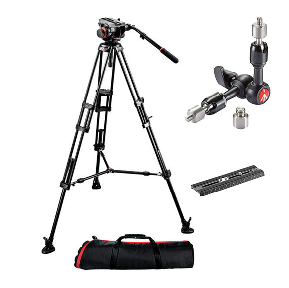 Manfrotto 504HD Head with 546B 2-Stage Aluminum Tripod with extra Long Plate 504PLONGRL and variable friction arm 244MICRO