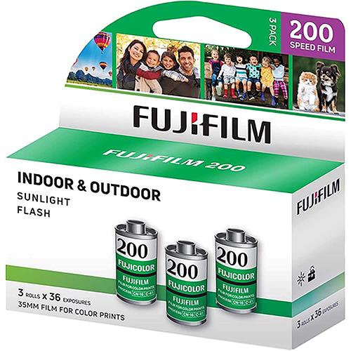 FUJIFILM Fujicolor 200 Color Negative Film (35mm Roll Film, 36 Exposures, 3 Pack)