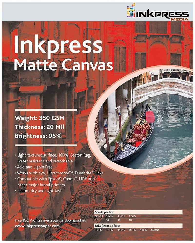 Inkpress ACW851110 MEDIA Matte Canvas 8.5 x 11 inch paper