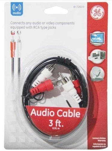 GE GE AV72609 Audio Cable w/Dual RCA Plugs, 3ft, Black