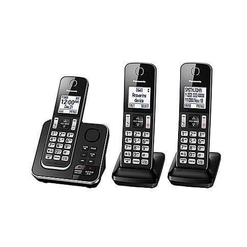 Panasonic KXTGD393B 3 handset cordless phone with answering system