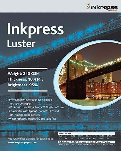 Inkpress PCL111720 Luster 240 GSM, 10.4 Mil, 94 Percent Bright Paper
