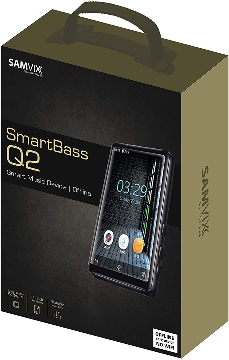SAMVIX SMARTBASS Q2 MP3 Player with Bluetooth, Full Touch Screen, Keyboard, MP3 Players with NO Radio, NO Video, NO Pictures, Kosher, Option to Transfer Files from SD Card to The MP3, Voice Recorder
