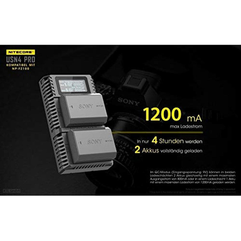 Nitecore USN4 Pro Digital QuickCharge 2.0 USB Battery Charger for Sony NP-FZ100 Battery