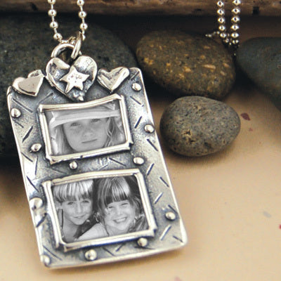 Double Hearts Photo Necklace - Bella Branch