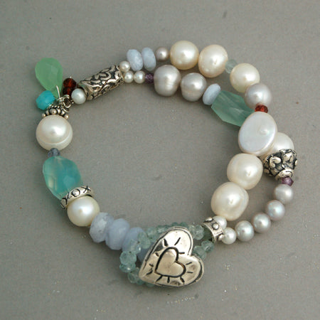 Beach Glass Heart Bracelet - Bella Branch