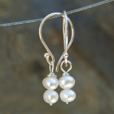 White Paired Pearl Earrings