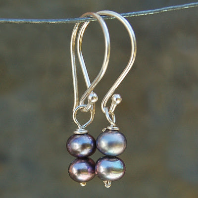 Grey Paired Pearl Earrings