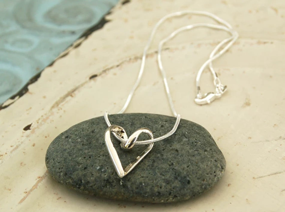 Open Heart Ribbon Necklace