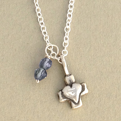 Sweet Cross & Birthstone Necklace