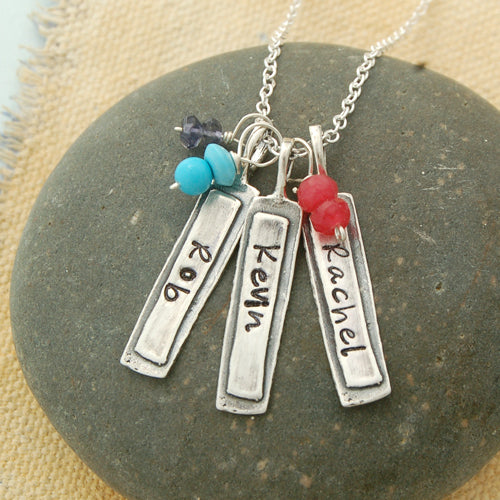 Custom Stamped Necklace & Birthstones - Bella Branch