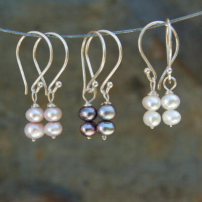 Paired Pearl Earrings, Set of 3