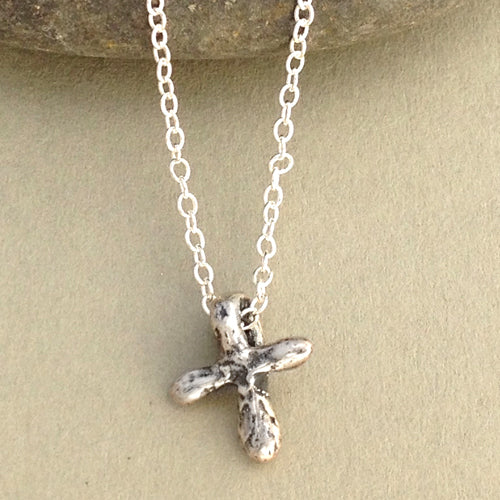 Textured Tiny Cross Necklace