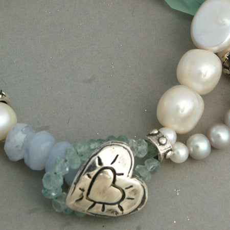 Beachglass Heart Bracelet