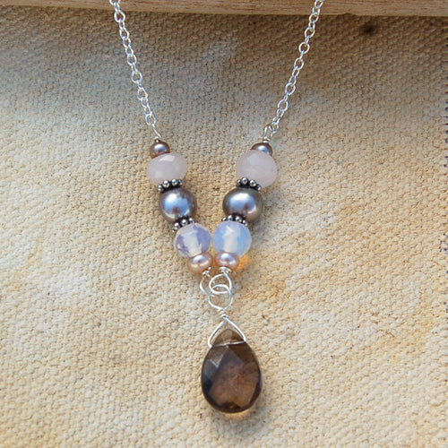 Chocolate and Pink Pearl  Necklace - Bella Branch