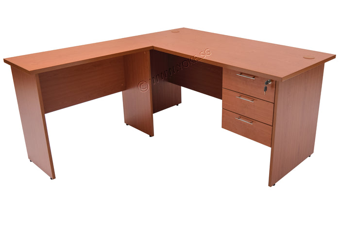 L-Shape Table With 3 Fixed Drawers - Cherry