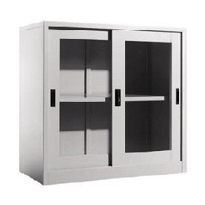 HALF HEIGHT GLASS STEEL SLIDING CABINET