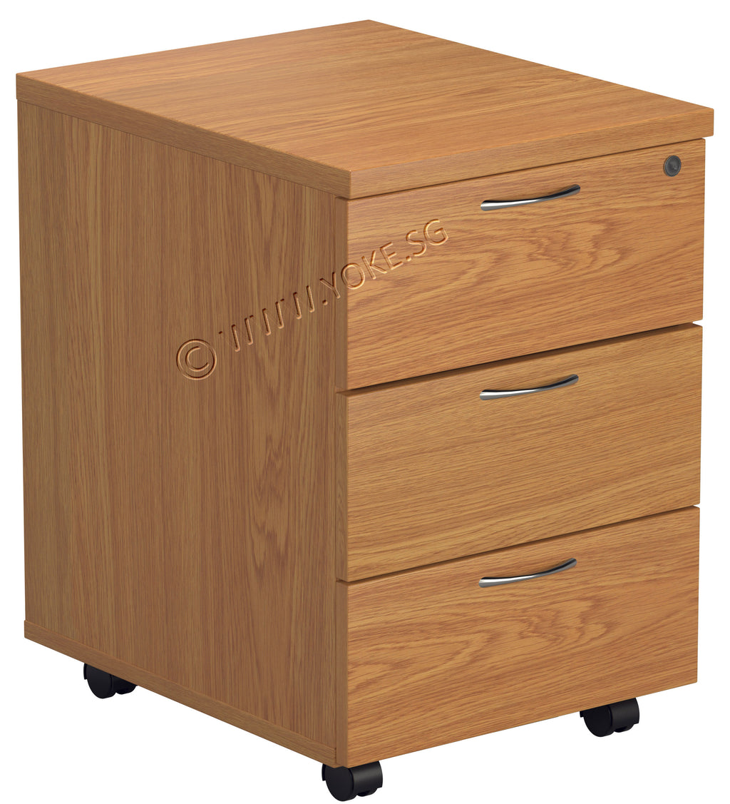 Mobile 3 Drawers Pedestal - Cherry
