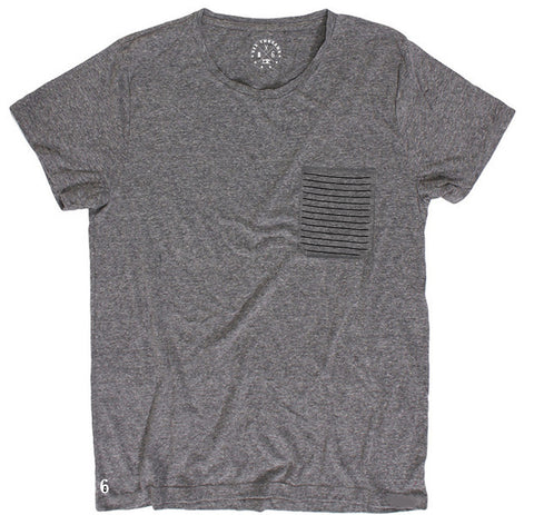 Men's Heather Grey Pocket Crew Neck