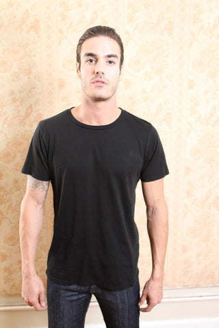Men's Cotton Black Crew Neck