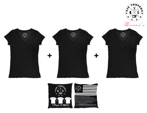 Women's Black Out V Neck 3 Pack