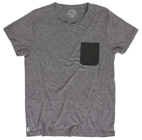 Men's Cotton Black Pocket Heather Grey Crew Neck