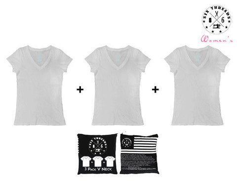 Women's White Out V Neck 3 Pack