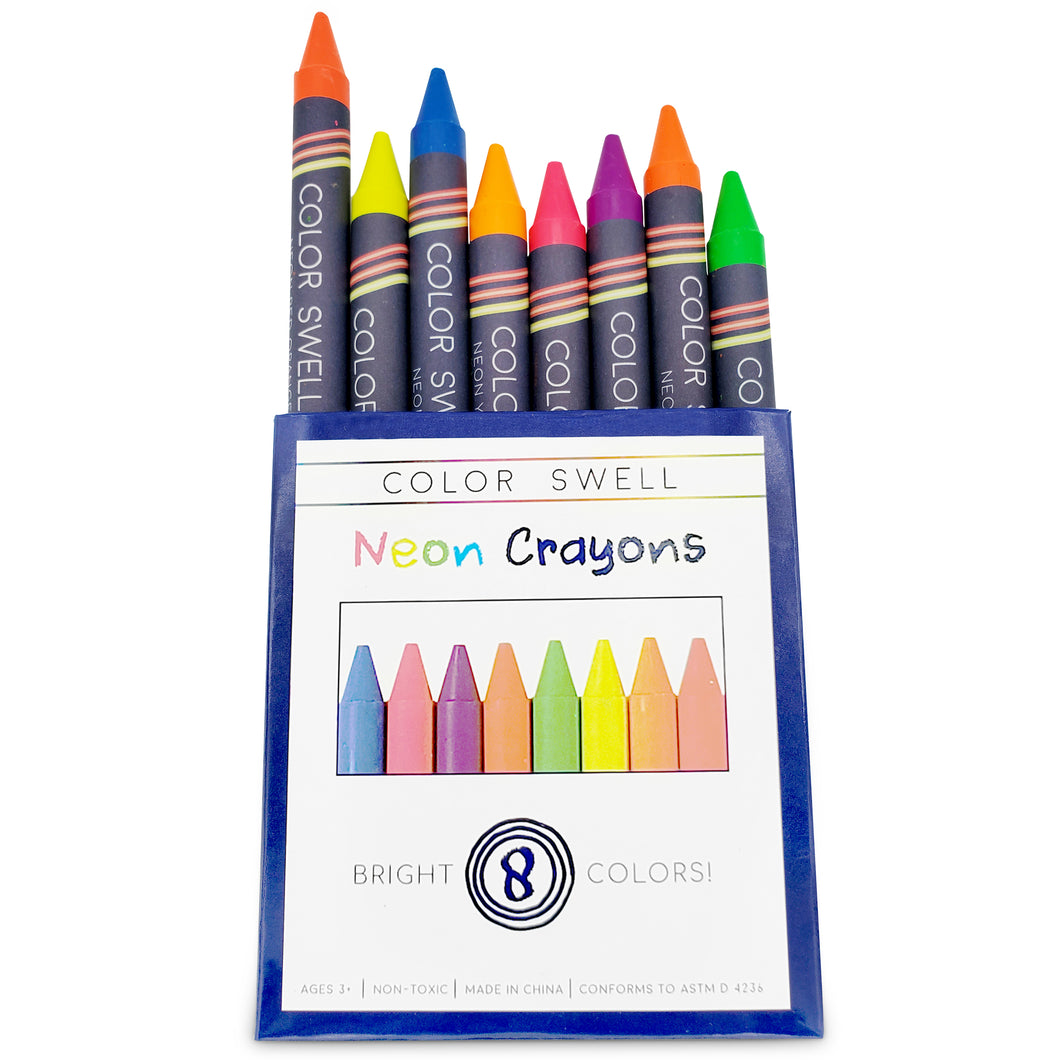 Color Swell Neon Crayon Pack - One Box of Fun Neon Crayons (8 Crayons per Box)