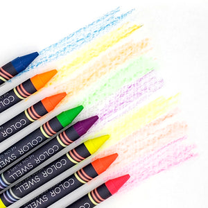Color Swell Bulk Crayon Packs - 4 Packs Large Neon Crayons and 4 Packs Classic Crayons