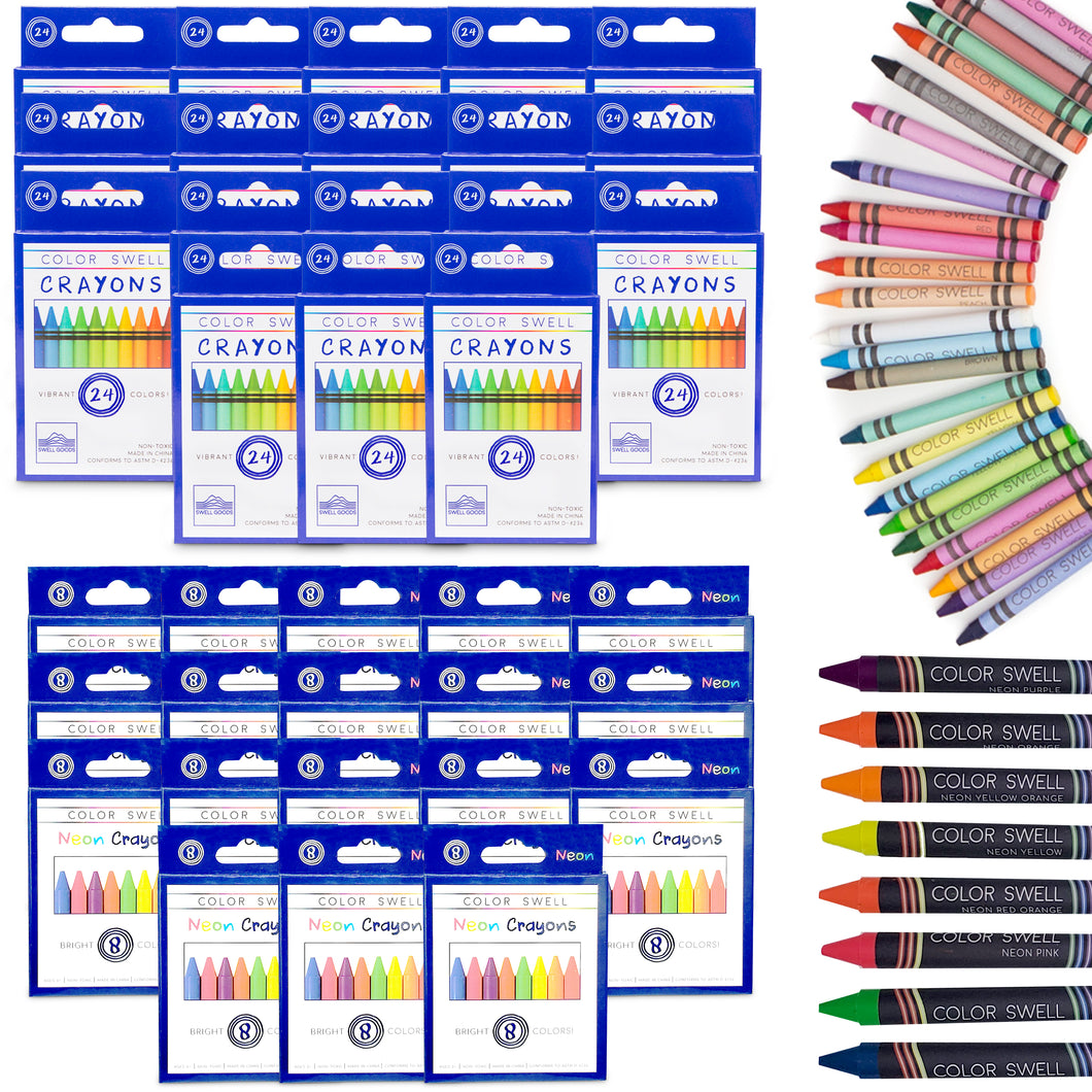 Color Swell Bulk Crayon Packs - 18 Packs Large Neon Crayons and 18 Packs Classic Crayons