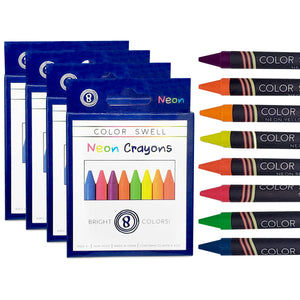 Color Swell Neon Crayons in Bulk - 4 Boxes of 8 Large Neon Crayons (32 Total)
