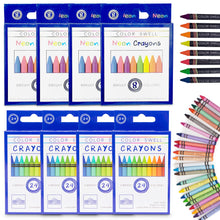 Load image into Gallery viewer, Color Swell Bulk Crayon Packs - 4 Packs Large Neon Crayons and 4 Packs Classic Crayons