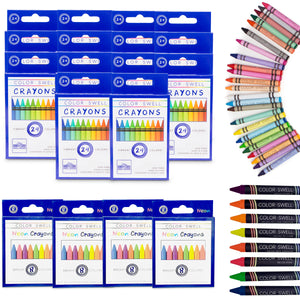 Color Swell Bulk Crayon Packs - 4 Packs Large Neon Crayons and 14 Packs Classic Crayons