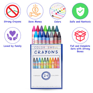 Color Swell Crayon 6-Pack (24 Crayons per Pack) Vibrant Colors Teacher Quality