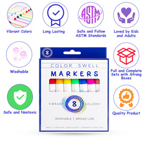 Color Swell Washable Markers with 8 Vibrant Colors