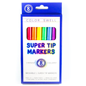 Color Swell Super Tip Washable Marker Pack - 8 Vibrant Colors