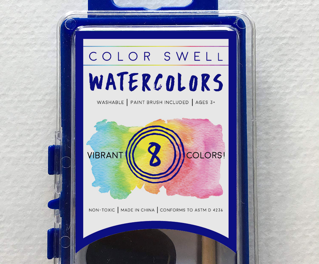 Color Swell Watercolor Paints with Strong Wood Brush 8 Colors Washable Water Colors