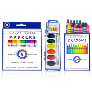 Art Mixed Bulk Pack (12 packs each of Markers, Watercolors, Crayons)