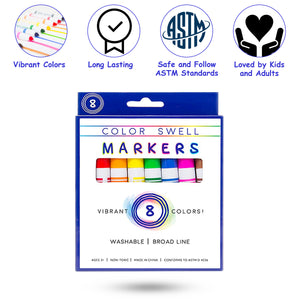 4 Pack of Washable Markers (8 Markers per Pack) by Color Swell