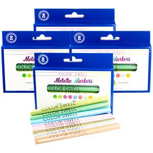 Color Swell Metallic Marker Bulk Pack (4 Packs, 8 Markers/Pack)