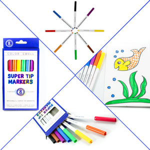 Color Swell Super Tip Washable Markers Bulk Pack 6 Boxes of 8 Vibrant Colors (48 Total) Perfect for Kids, Parties, Classrooms