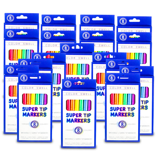 Color Swell Super Tip Washable Markers Bulk Pack 18 Boxes of 8 Vibrant Colors (144 Total)