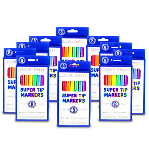 Color Swell Super Tip Washable Markers Bulk Pack 10 Boxes of 8 Vibrant Colors (80 Total)
