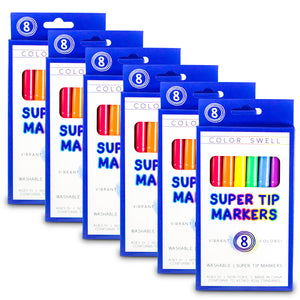 Color Swell Super Tip Washable Markers Bulk Pack 6 Boxes of 8 Vibrant Colors (48 Total)