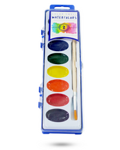 Load image into Gallery viewer, Color Swell Watercolor Paints with Strong Wood Brush 8 Colors Washable Water Colors