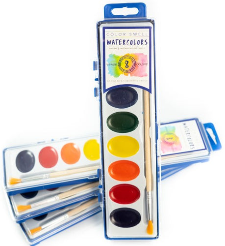 Color Swell Bulk Watercolor Paint Pack (4 Packs, 8 Colors/Pack)