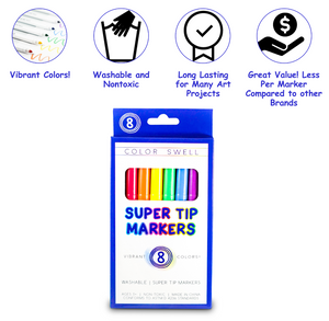 Color Swell Super Tip Washable Markers Bulk Pack 50 Boxes of 8 Vibrant Colors (400 Total)